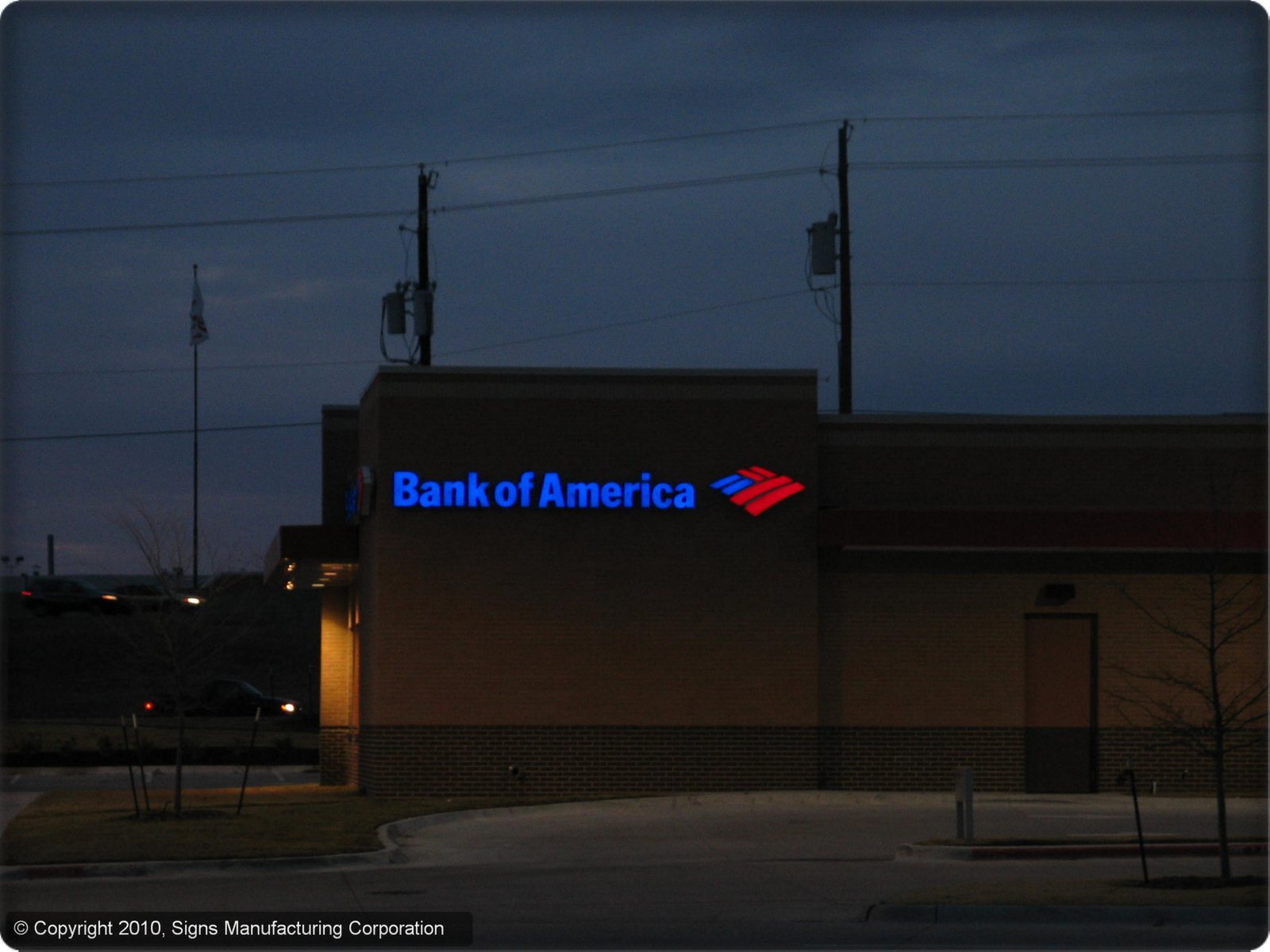 Bank of America Sign Lighted