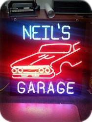 Custom Neil's Garage Interior Neon Sign