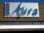 Salon Aura unique wall sign with reverse lit channel letters by Signs Manufacturing, Dallas, TX