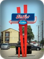 DaLat Cocktail Lounge chopstick pole sign in Dallas, TX by Signs Manufacturing, Dallas.